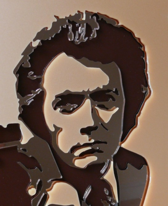 Dirty Harry - close up of laser cut mirror acrylic detail