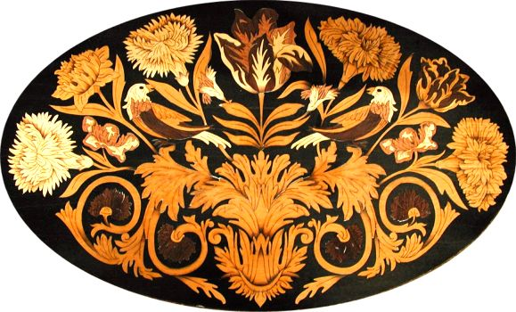 W and M Marquetry Oval Motif