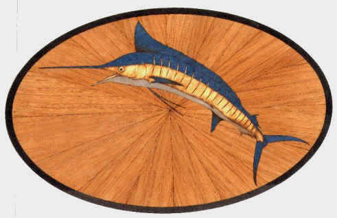 laser cut marlin on teak sunburst