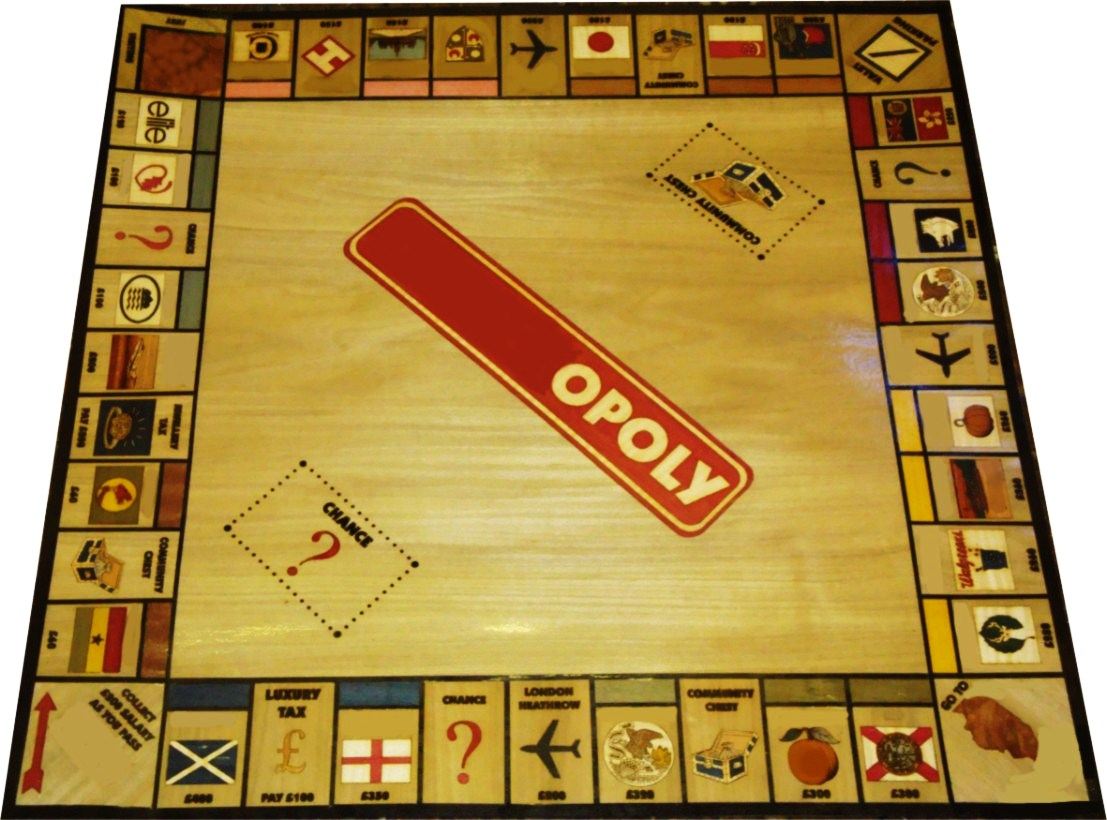 We were given a list of places and suggestions for the 40 seperate artworks , and produced this customised monopoly board. Names have been obscured to protect the identity of the client